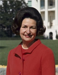 Lady Bird Johnson, showcasing her 1950s hairstyle